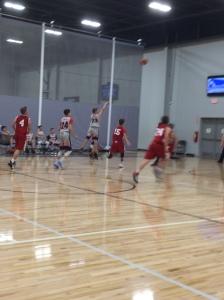 A last second basketball shot