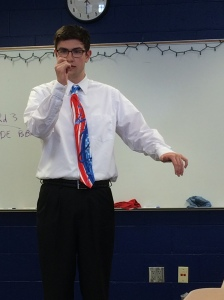 Teen performing a speech